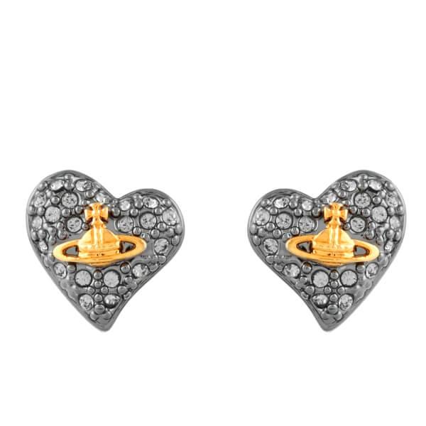 Vivienne Westwood Jewellery Women's Tiny Diamante Heart Stud Earrings - Black