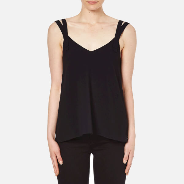 Helmut Lang Women's High Twist Crepe Double Strap Top - Black