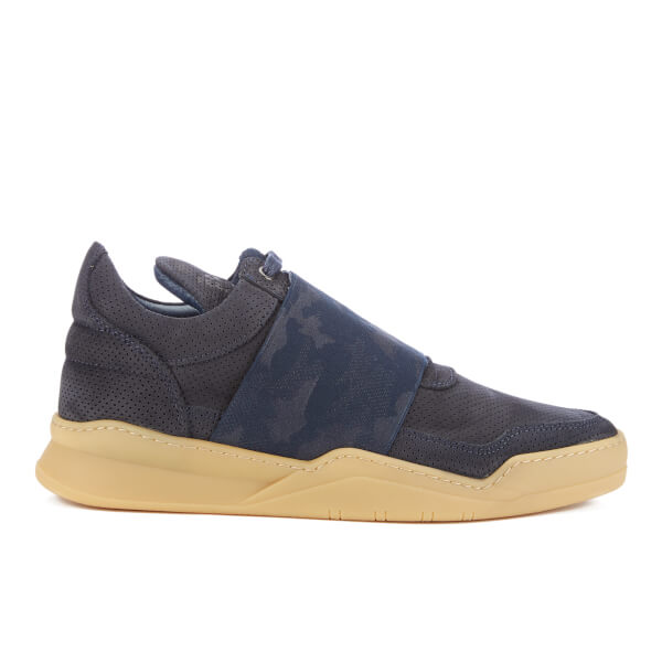 Filling Pieces Men's Perforated Elastic Low Top Trainers - Navy