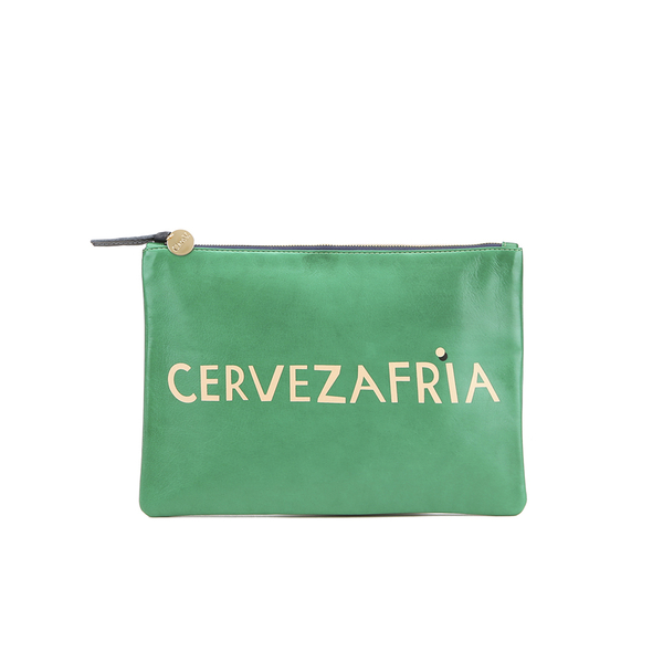 Clare V. Women's Flat Clutch Bag - Emerald Nappa With Blush Cervezafria