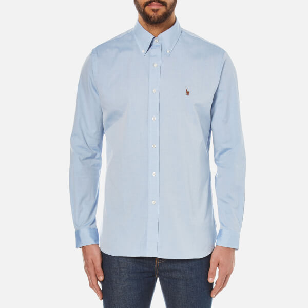Polo Ralph Lauren Men's Custom Fit Button Down Pinpoint Oxford Shirt - Blue:  Image 1