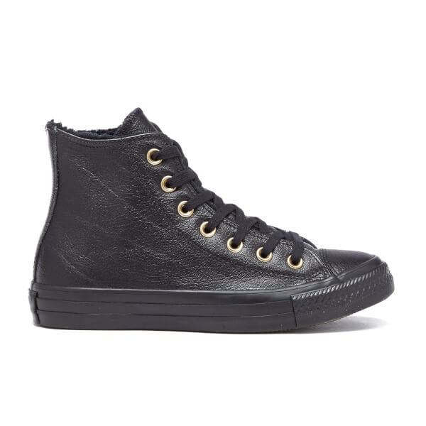 Converse Women's Chuck Taylor All Star Leather Fur Hi-Top Trainers - Black/ Black