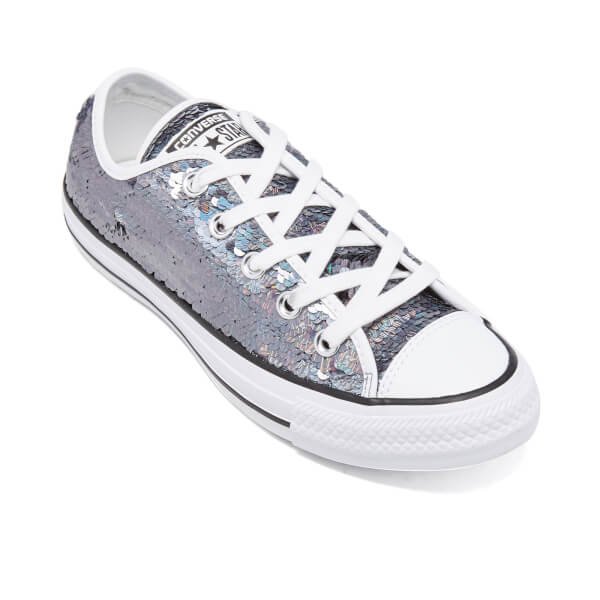 879fee44a62 Converse Women s Chuck Taylor All Star Holiday Party OX Trainers - Gunmetal  White Black