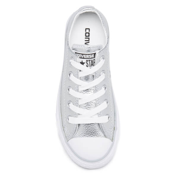 750d9fc664c3 Converse Kids  Chuck Taylor All Star Metallic Leather OX Trainers - Pure  Silver White