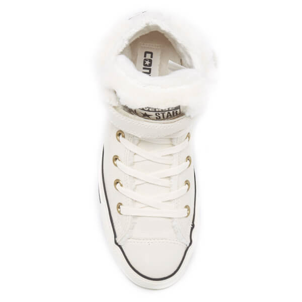 a4d695691c5 Converse Women s Chuck Taylor All Star Brea Leather Fur Hi-Top Trainers -  Parchment