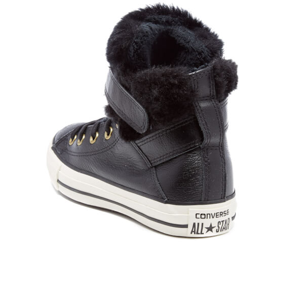 373cd3de8dd5 Converse Women s Chuck Taylor All Star Brea Leather Fur Hi-Top Trainers -  Black