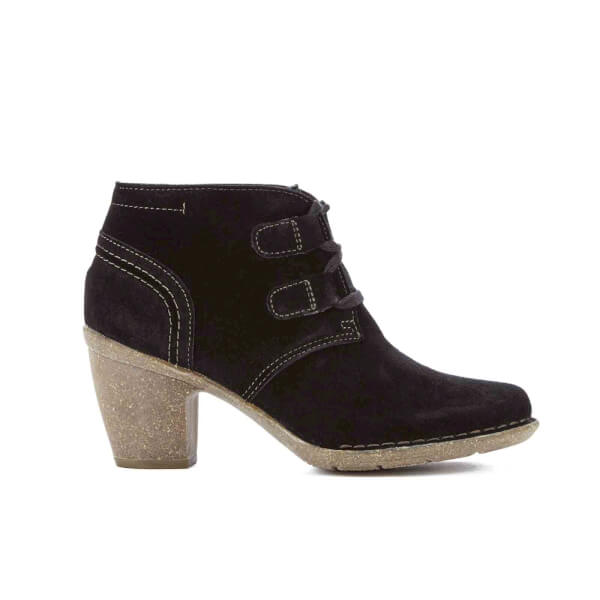 Clarks Women's Carleta Lyon Suede Heeled Ankle Boots - Black