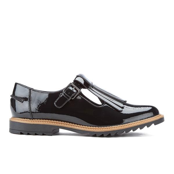 Clarks Women's Griffin Mia Patent Frill T Bar Shoes - Black