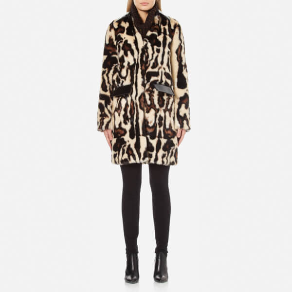 Carven Women's Faux Fur Leopard Coat - Multi