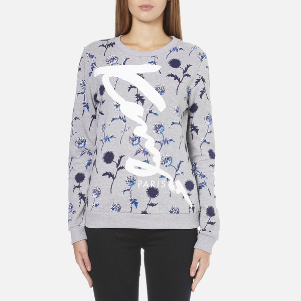 KENZO Women's Dandelion Print and Logo Sweatshirt - Pale Grey