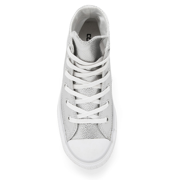 ac59d0bcd8fb Converse Kids  Chuck Taylor All Star Metallic Leather Hi-Top Trainers - Pure  Silver