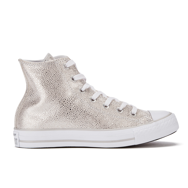 02ed55a9b3c243 Converse Women s Chuck Taylor All Star Sting Ray Leather Hi-Top Trainers -  Pure Silver