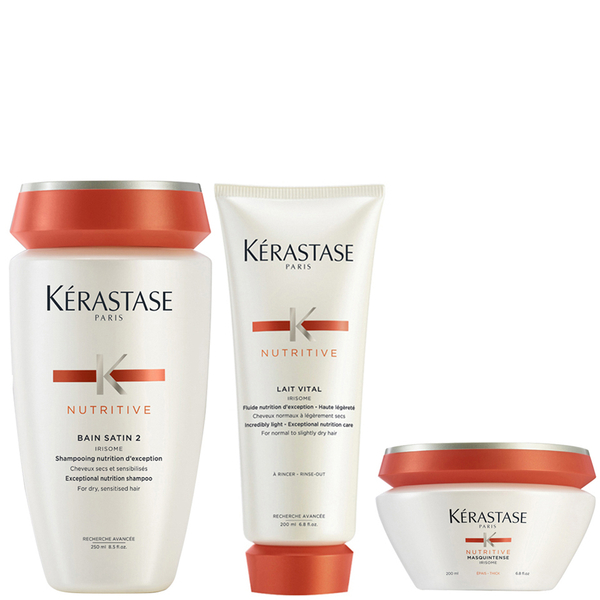 Kerastase Nutritive Bain Satin 2 250 ml Nutritive Lait Vital 200 ml & Masquintense Cheveux Epais (for tykt hår) 200 ml