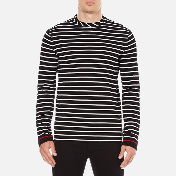 McQ Alexander McQueen Men's Long Sleeve Crew Stripe T-Shirt - Stripe White/Black