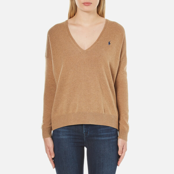 Polo Ralph Lauren Women's Boxy V Neck Jumper - Dark Beige Heather