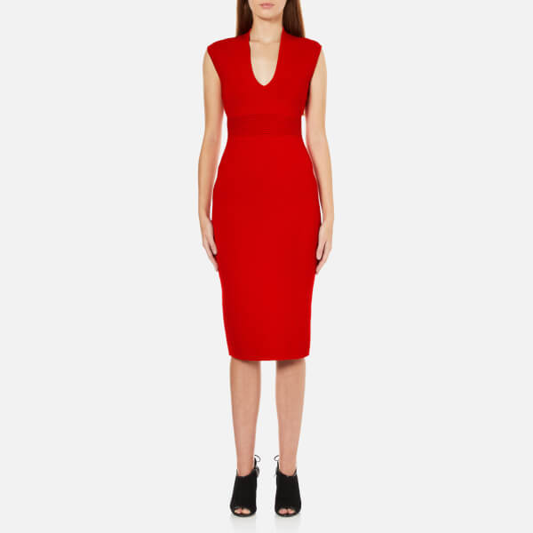 MICHAEL MICHAEL KORS Women's Midi V Neck Dress - Red