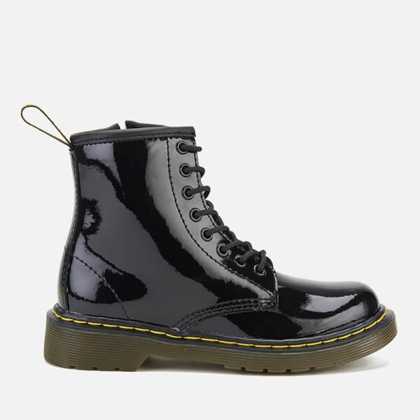 Dr. Martens Kids' Delaney Patent Lamper Leather 8-Eye Lace Up Boots - Black