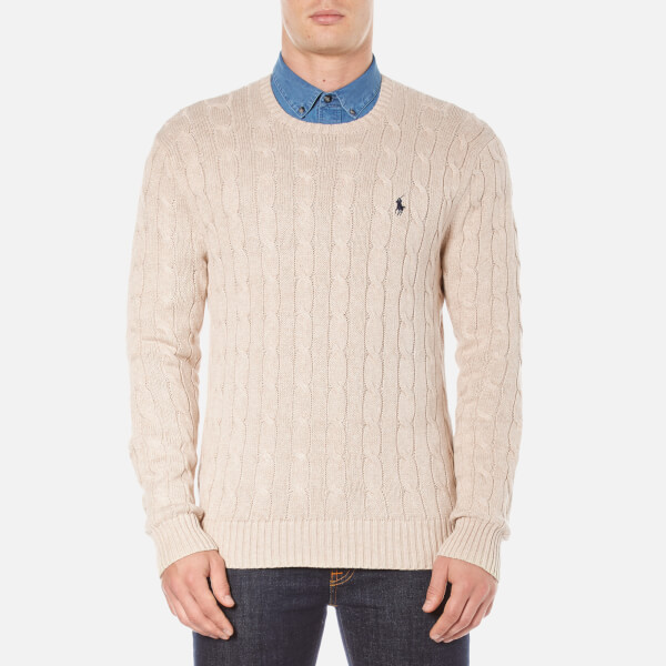 Polo Ralph Lauren Men's Long Sleeve Crew Neck Knitted Jumper - Oatmeal Heather