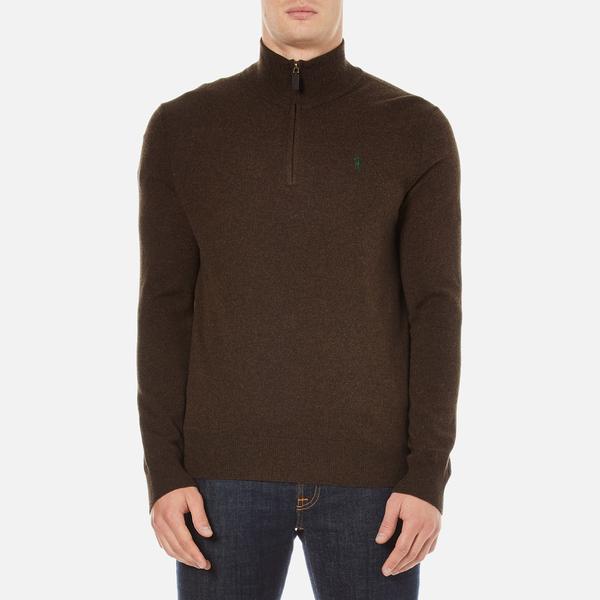 Polo Ralph Lauren Men's Half Zip Merino Knitted Jumper - Brown Marl