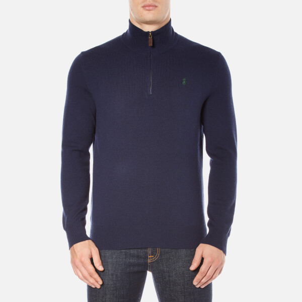 Polo Ralph Lauren Men's Half Zip Knitted Jumper - Hunter Navy
