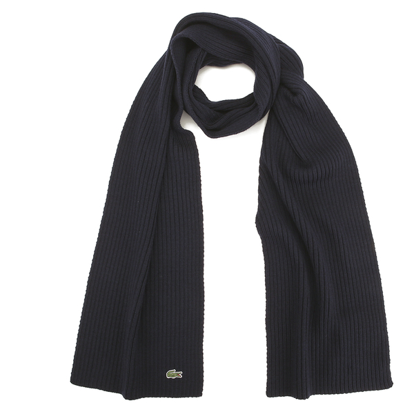 Lacoste Men's Ribbed Scarf - Navy Blue