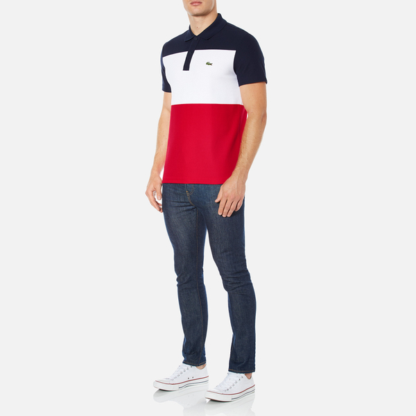 b2b2d33834098 Lacoste Men s Short Sleeve Bold Stripe Polo Shirt - Navy Blue White Red
