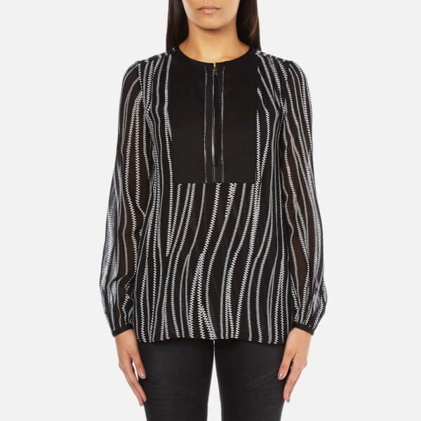 Karl Lagerfeld Women's Soft Blouse With Zipper Detail - Zipper Print Black