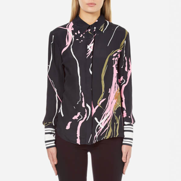 C/MEO COLLECTIVE Women's Been There Shirt - Black Scarf Print