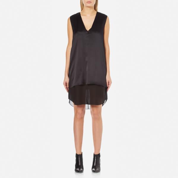 T by Alexander Wang Women's Charmeuse Sleeveless Dress with Chiffon Slip Combo - Black