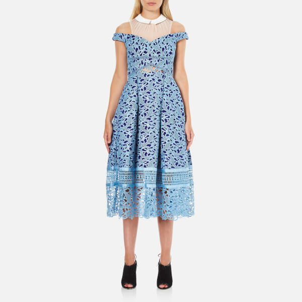 Three Floor Women's Glossier Collar Dress - Ink Blue/Opal Air/White
