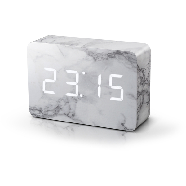 Gingko Brick Marble Click LED Clock - White