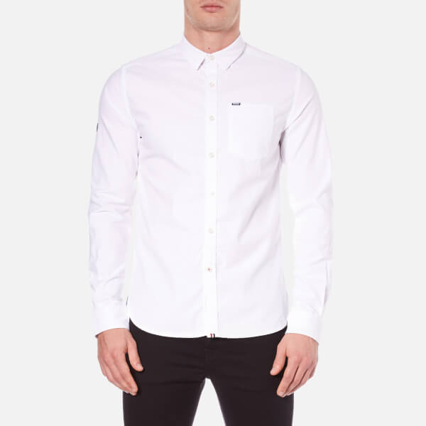 Superdry Men's Academy Oxford Long Sleeve Shirt - Optic White