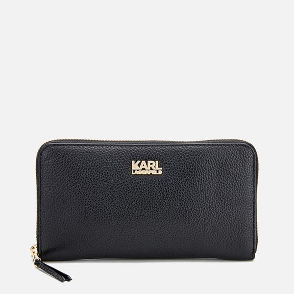 Karl Lagerfeld Women's K/Grainy Zip Around Wallet - Black