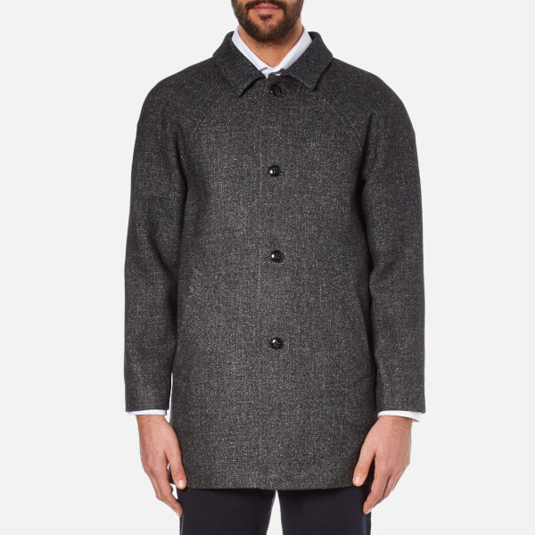 Folk Men's Clean Car Buttoned Overcoat - Charcoal