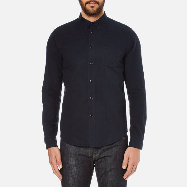 Folk Men's Button Down Long Sleeve Shirt - Navy