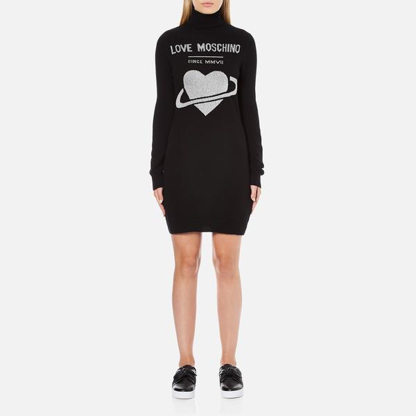Love Moschino Women's Polo Neck Heart Jumper Dress - Black