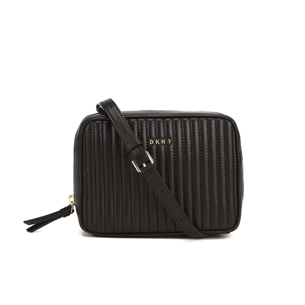 DKNY Women's Gansevoort Pinstripe Quilted Square Crossbody Bag - Black