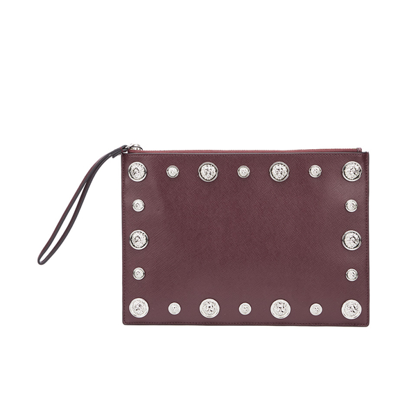 Versus Versace Women's Stud Clutch Bag - Oxblood/Nickel