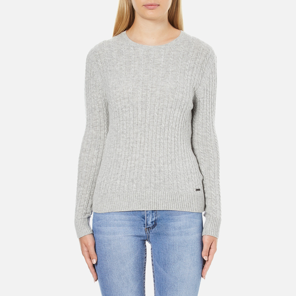 be5e03d1f7b42 Superdry Women s Luxe Mini Cable Knit Jumper - Grey Marl Womens ...