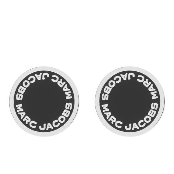 Marc Jacobs Women's Enamel Logo Disc Stud Earrings - Black/Argento