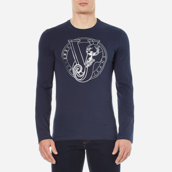a50bbf1f3b40e Versace Jeans Men s Printed Crew Neck Long Sleeve Top - Blue  Image 1