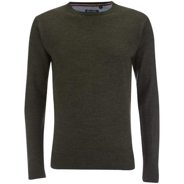 Brave Soul Men's Parse Supersoft Crew Neck Jumper - Khaki