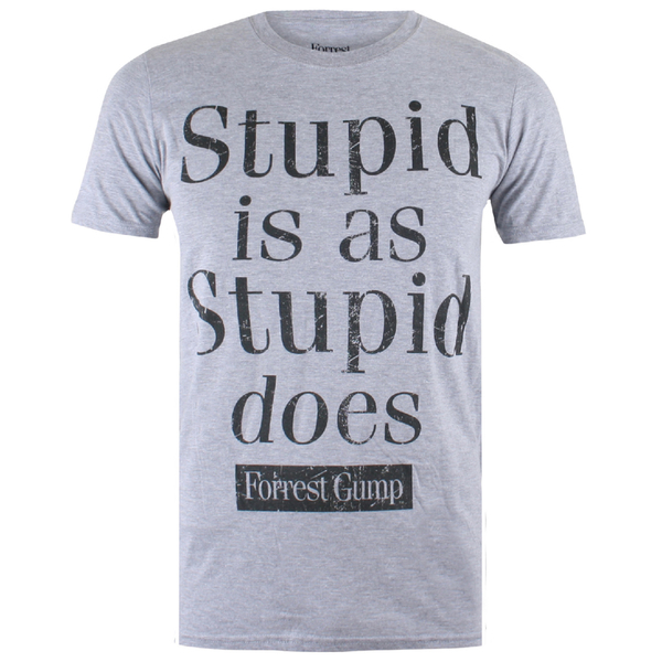 T-Shirt Homme Forrest Gump Stupid Is - Gris Chiné