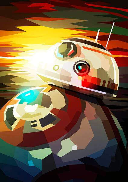 Affiche Géométrique Star Wars BB - 8 - Fine Art