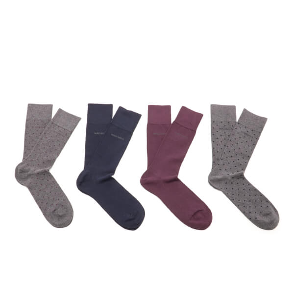 BOSS Hugo Boss Men's 4 Pack Socks - Blue/Grey