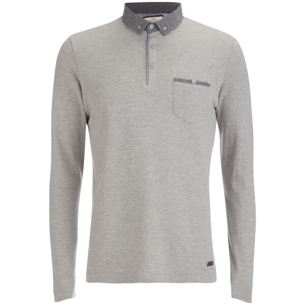 Brave Soul Men's Hera Long Sleeve Polo Shirt - Light Grey Marl