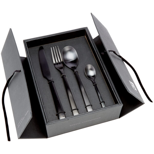 broste copenhagen hune matt black cutlery set homeware. Black Bedroom Furniture Sets. Home Design Ideas