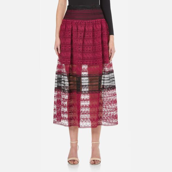 Three Floor Women's Summer Sunset Floral Lace Skirt - Damson Plum/Black