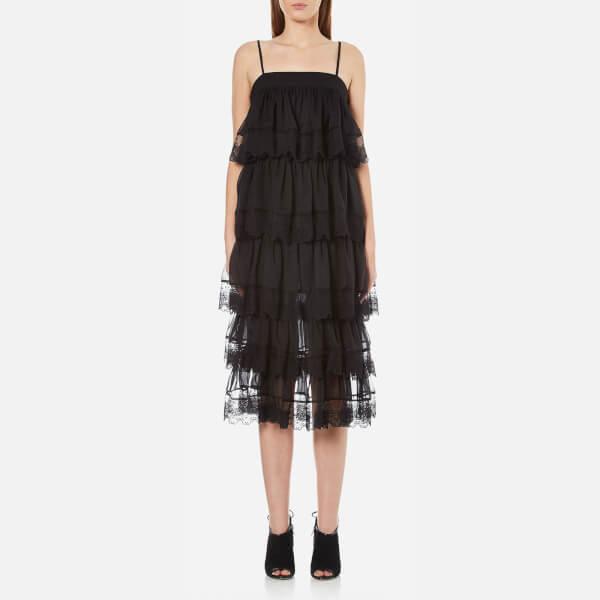 Three Floor Women's Swept Away Tiered Lace Trim Dress - Black