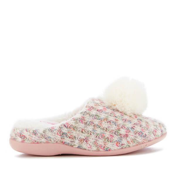 Dunlop Women's Adeline Pom Pom Slippers - Natural